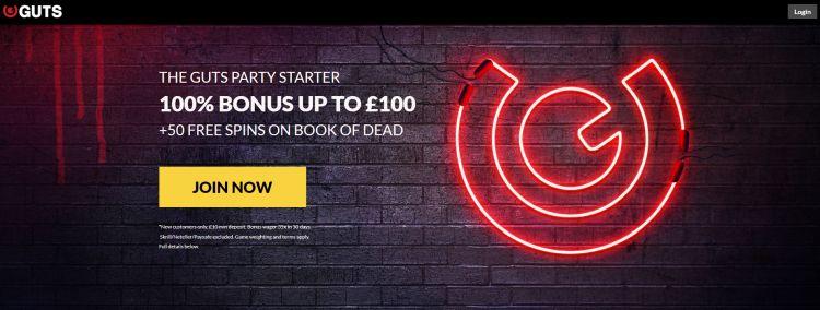 GUTS welcome bonus UK