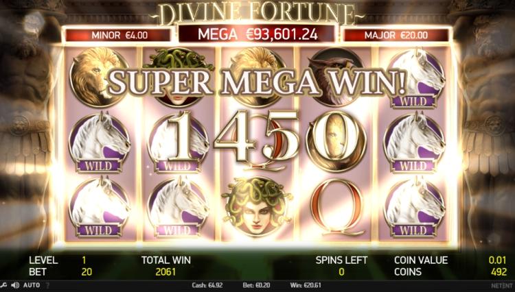 Divine fortune Netent free spins bonus mega win