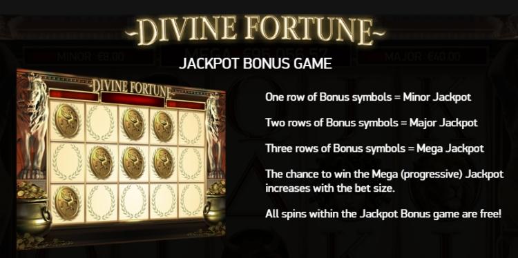 Divine fortune Netent progressive jackpot bonus game