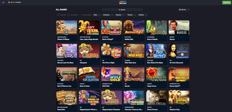 Slots million games selection UK